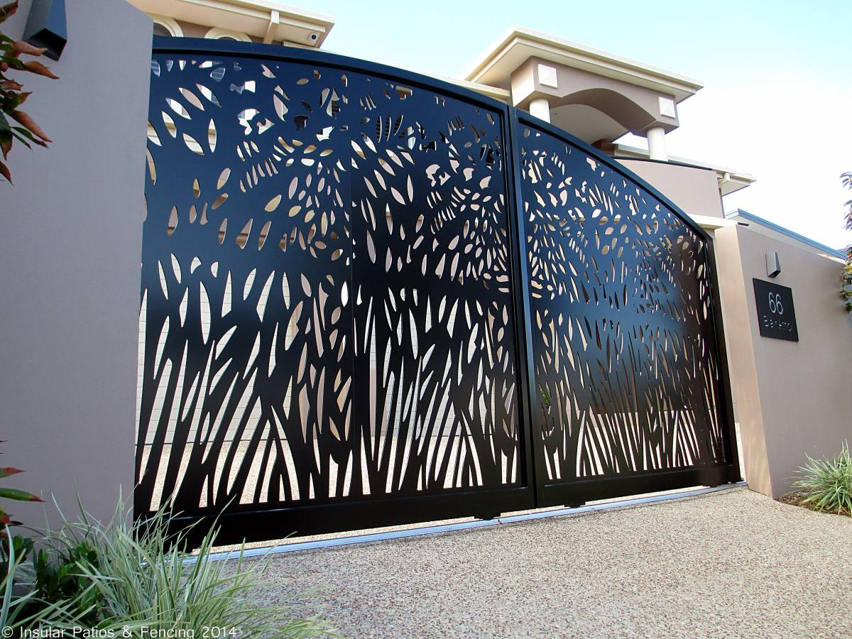 Laser cut front entrance gates gold coast insular for Cloture aluminium pour piscine