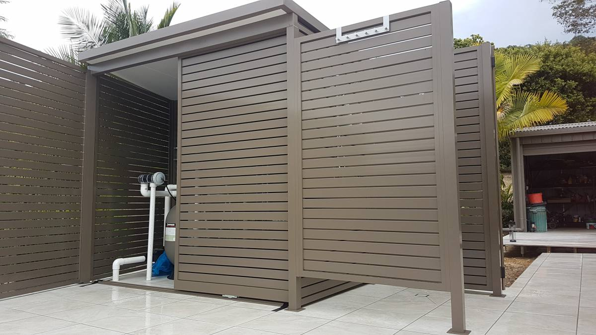 Pool Filter Cover With Sliding Doors Shower Recess And